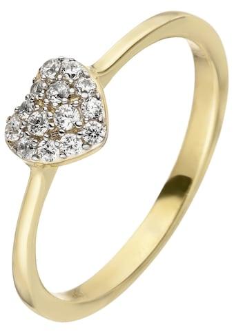 JOBO Goldring »Herz«, 375 Gold mit 11 Zirkonia kaufen