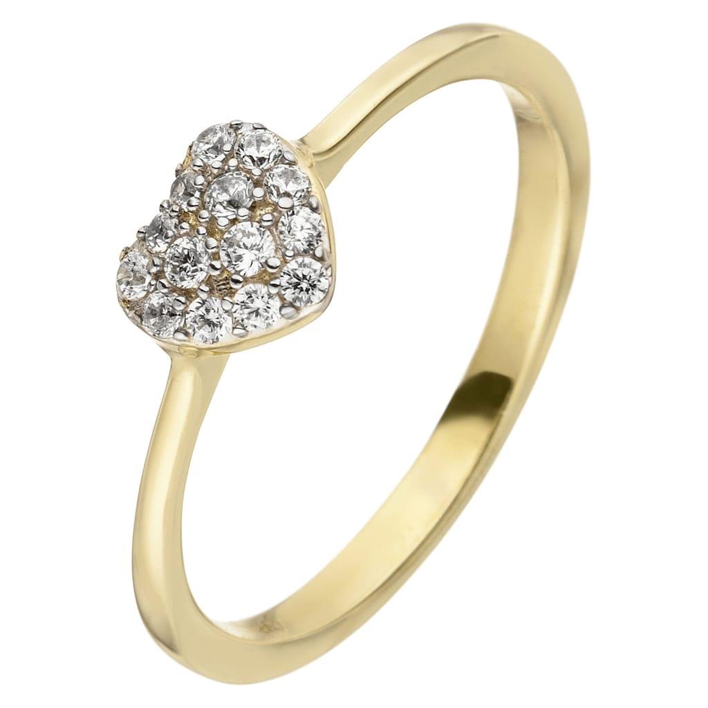 JOBO Goldring »Herz«, 375 Gold mit 11 Zirkonia