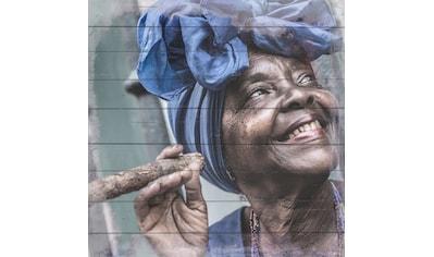 queence Holzbild »Glückliche Cubanerin«, 40x40 cm kaufen