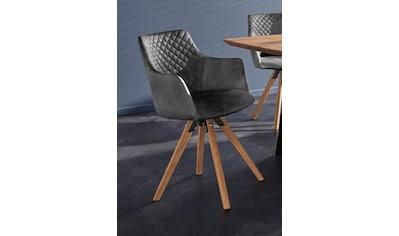 Armlehnstuhl »LISABON«, (2 Stück), mit Drehfunktion, Bezug aus strapazierfähiger Microfaser, das Gestell aus Eiche Massivholz geölt kaufen