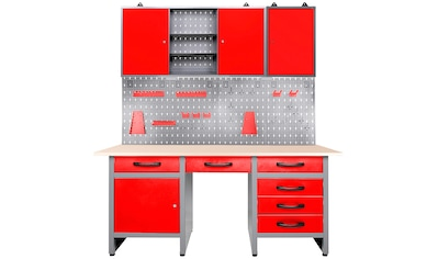 ONDIS24 Werkstatt-Set »Fritz«, Werkbank mit Lochwand & 2 Werkstattschränken kaufen
