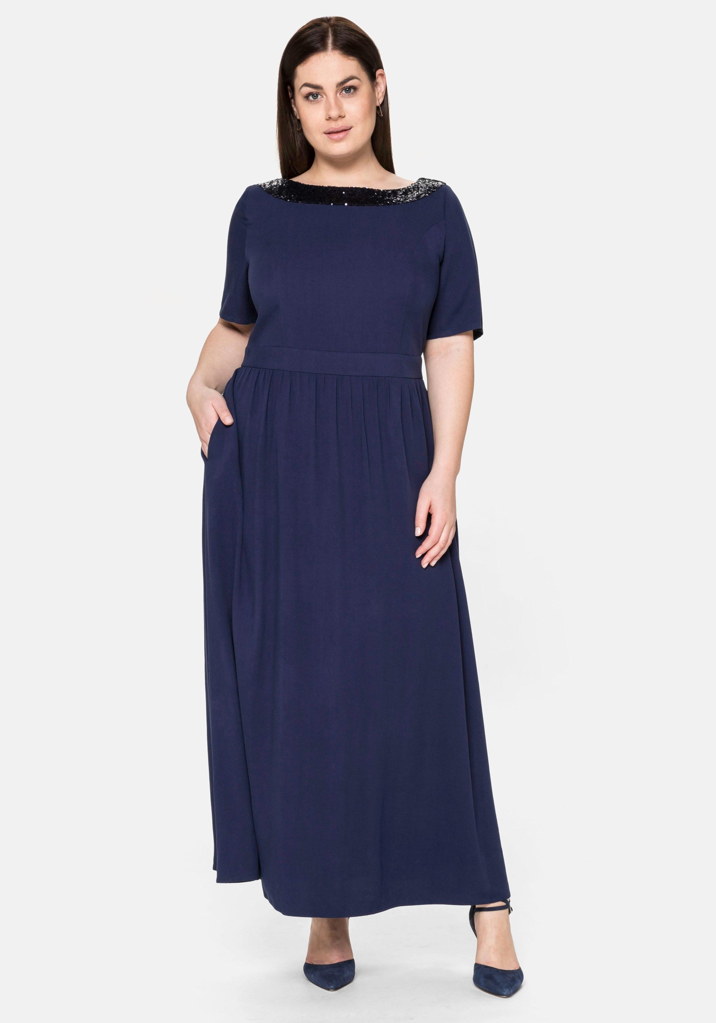 Sheego Abendkleid, mit Pailletten am Ausschnitt blau Damen Abendkleider Kleider Abendkleid