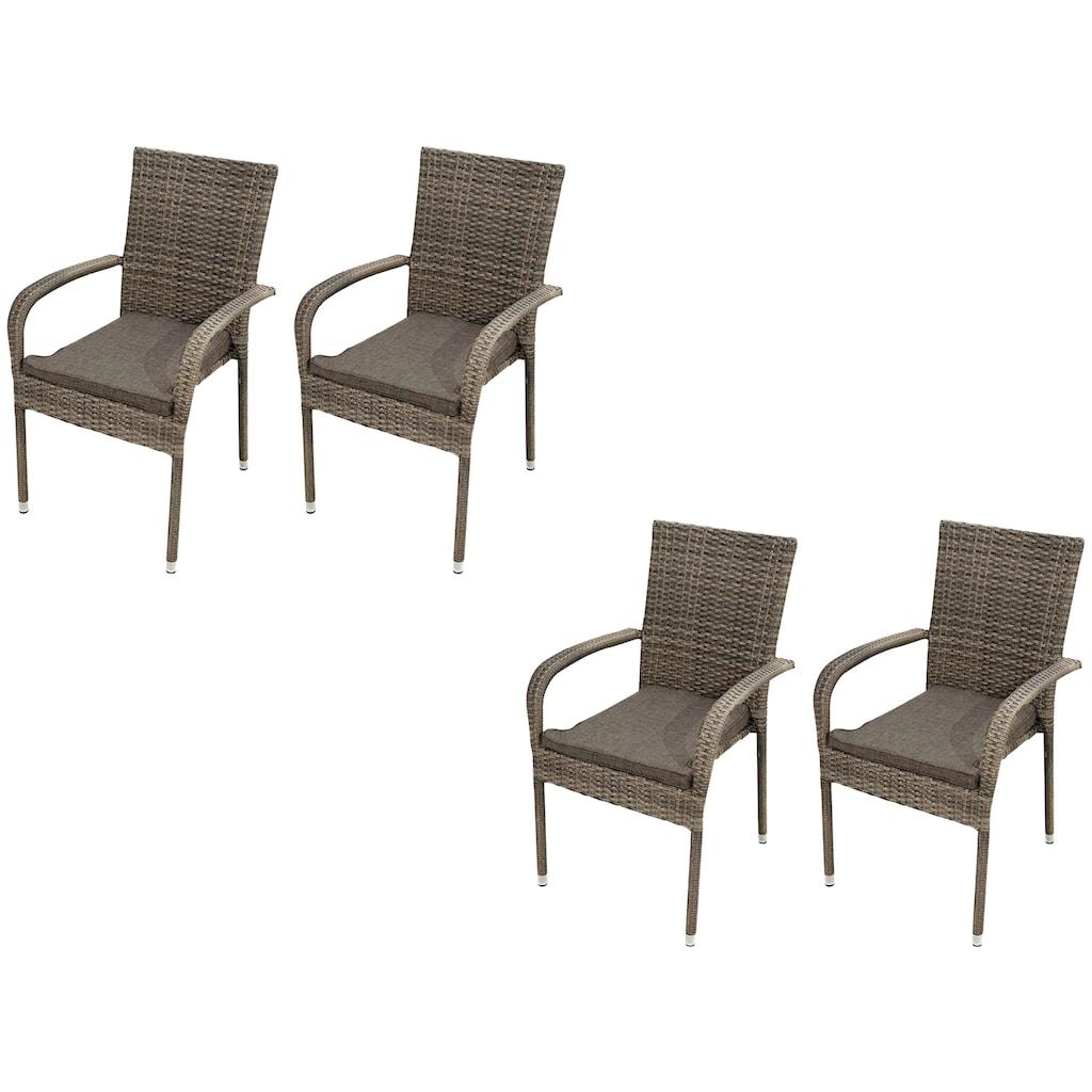 Ploß Gartenstuhl »WINDSOR«, 4er Set, Stahl, stapelbar