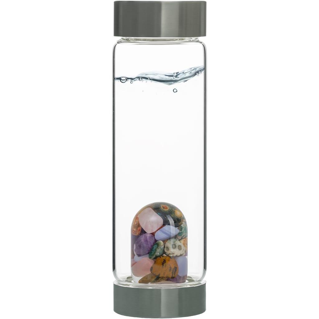 VitaJuwel Wasserkaraffe »Edelsteinflasche ViAFive Elements«, (Amethyst/Chalcedon/verst. Holz/Rosenquarz/Ozean Jaspis)