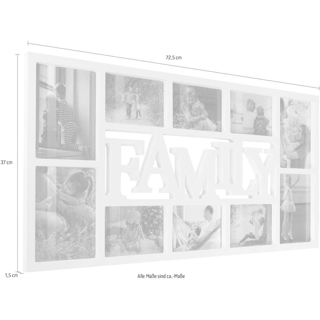 Home affaire Bilderrahmen Collage »FAMILY«, für 10 Bilder, Fotorahmen, mit Schriftzug, weiß, Bildformat 10x15 cm und 13x18 cm