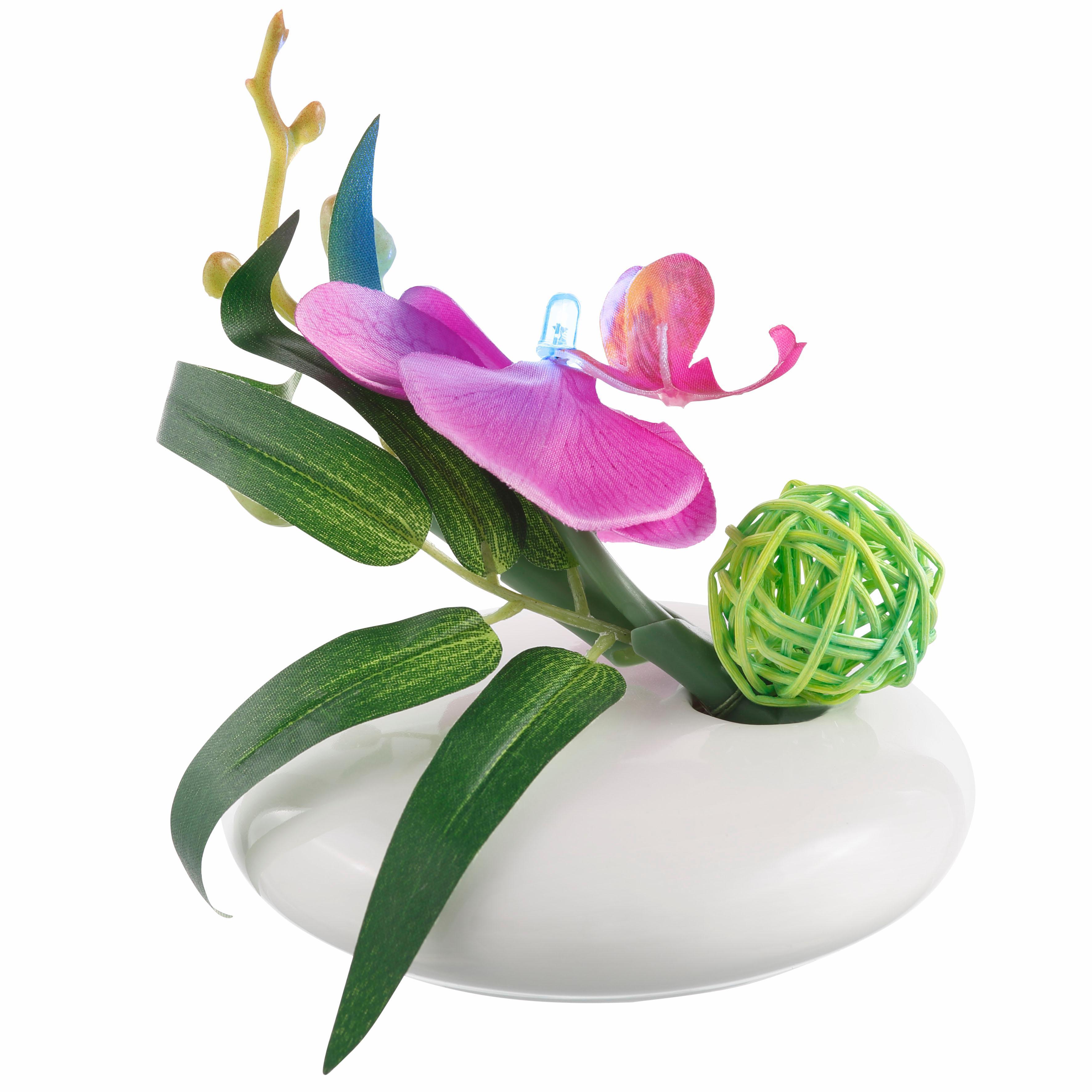 Kunstpflanze-Kunst-Blumen-Kunstpflanzen-Led-Orchidee-2Er-Set Indexbild 4