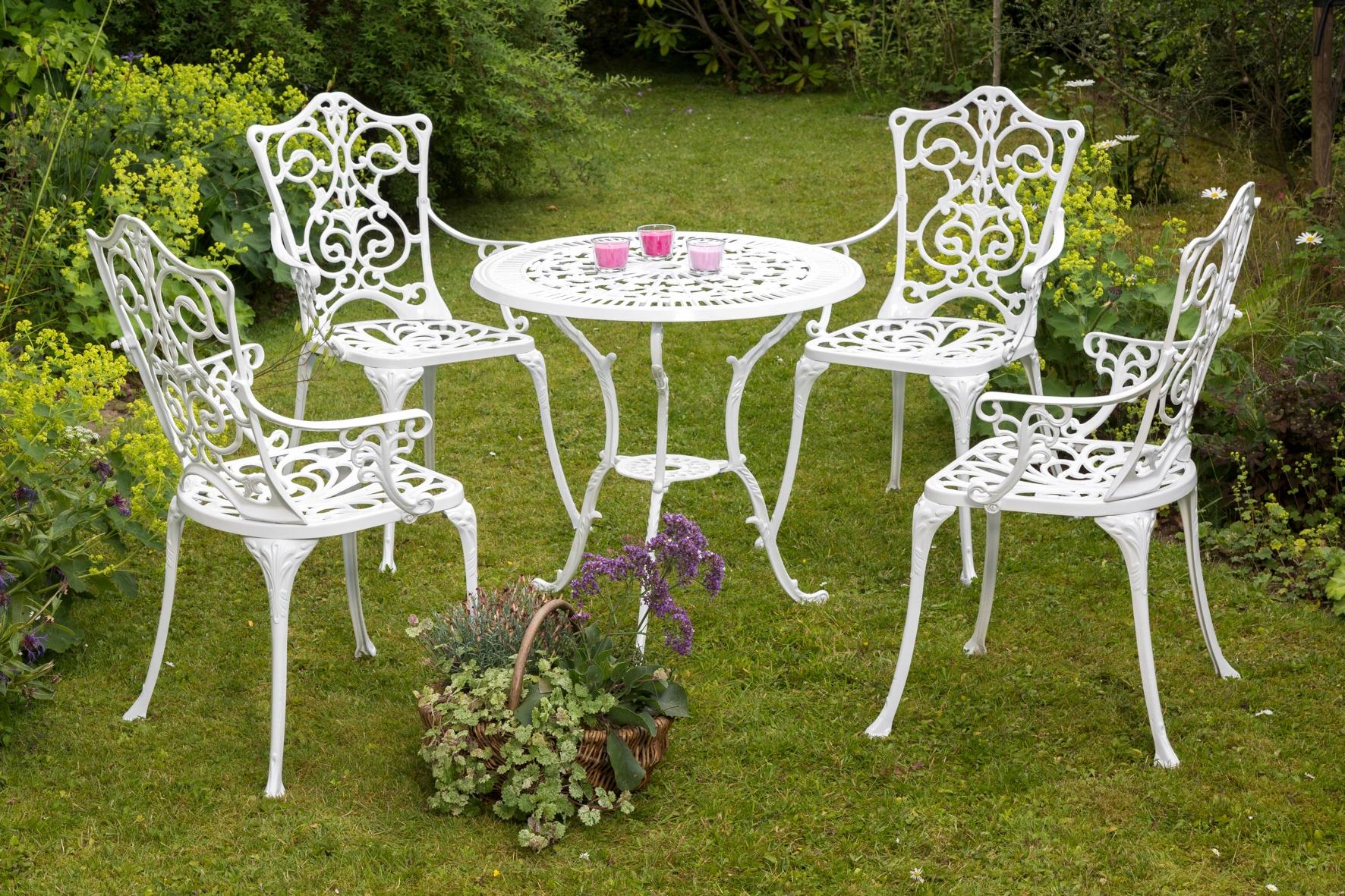 MERXX Gartenmöbelset Lugano 5tlg 4 Sessel Tisch Ø 70 cm Aluminium