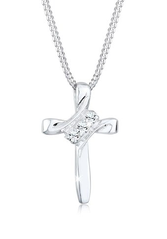 Elli Collierkettchen »Kreuz Modern mit Swarovski® Kristalle 925 Silber« kaufen