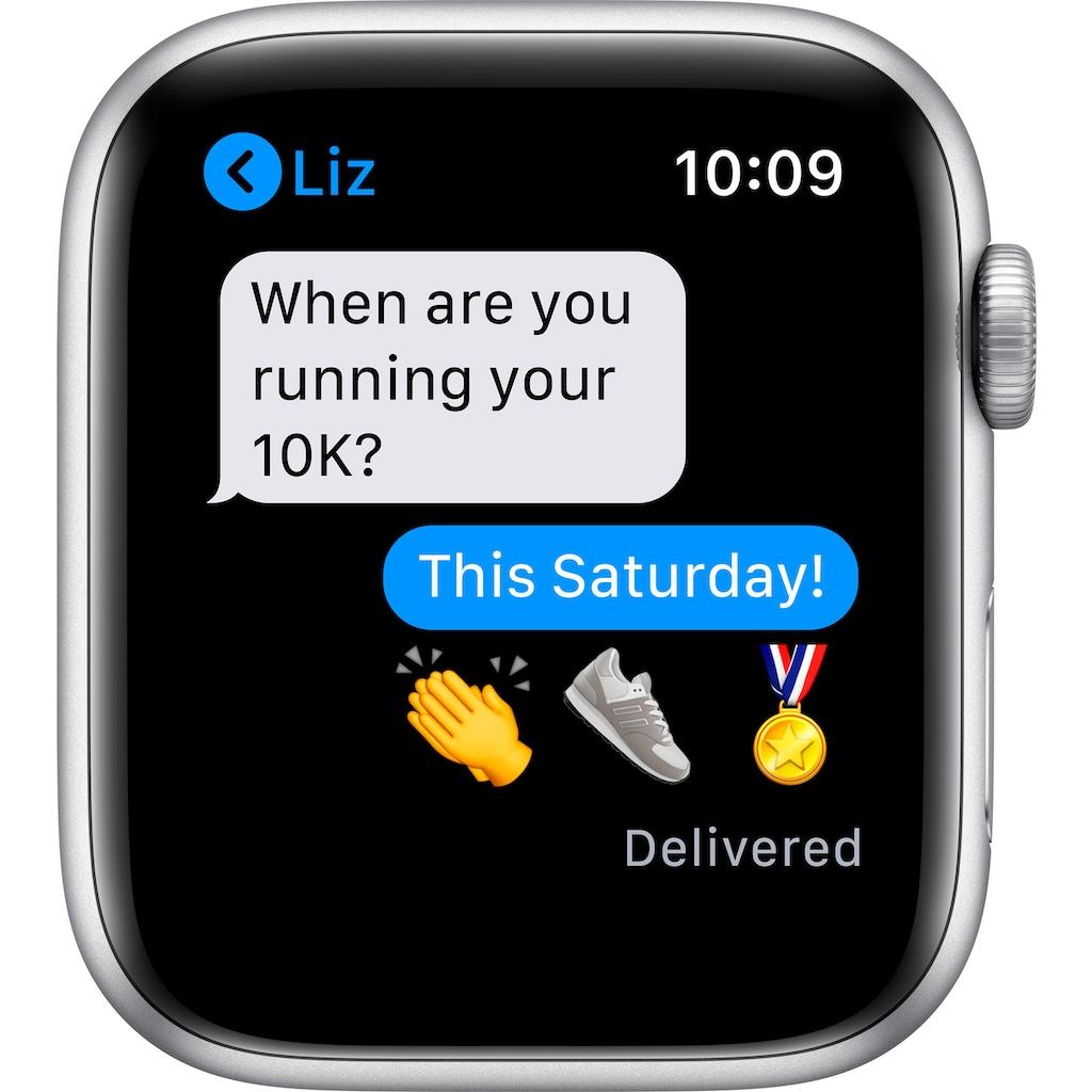 Apple Watch »Nike SE GPS, Aluminiumgehäuse mit Nike Sportarmband 44mm«, (Watch OS 6 inkl. Ladestation (magnetisches Ladekabel)