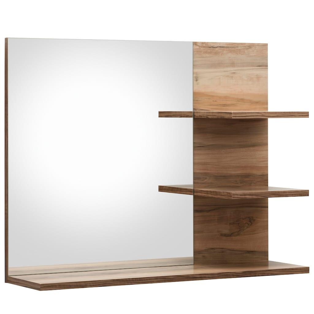 trendteam Badspiegel »Cancun«, mit Rahmenoptik in Holztönen und 3 Ablagen