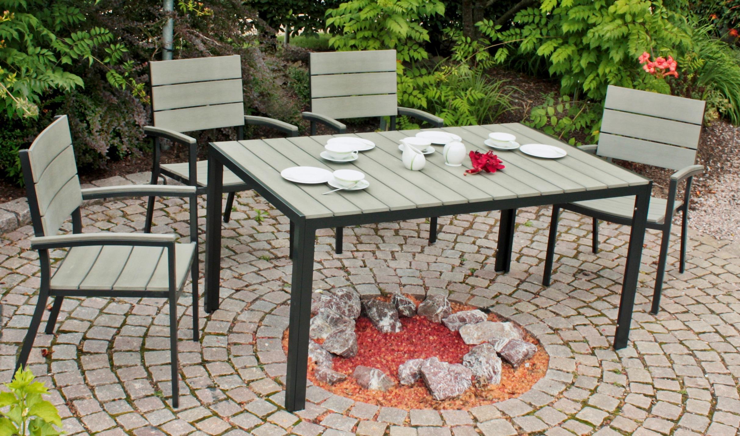 GARDEN PLEASURE Gartenmöbelset OLIVIA 7-tlg 6 Stühle Tisch Alu/Non-Wood