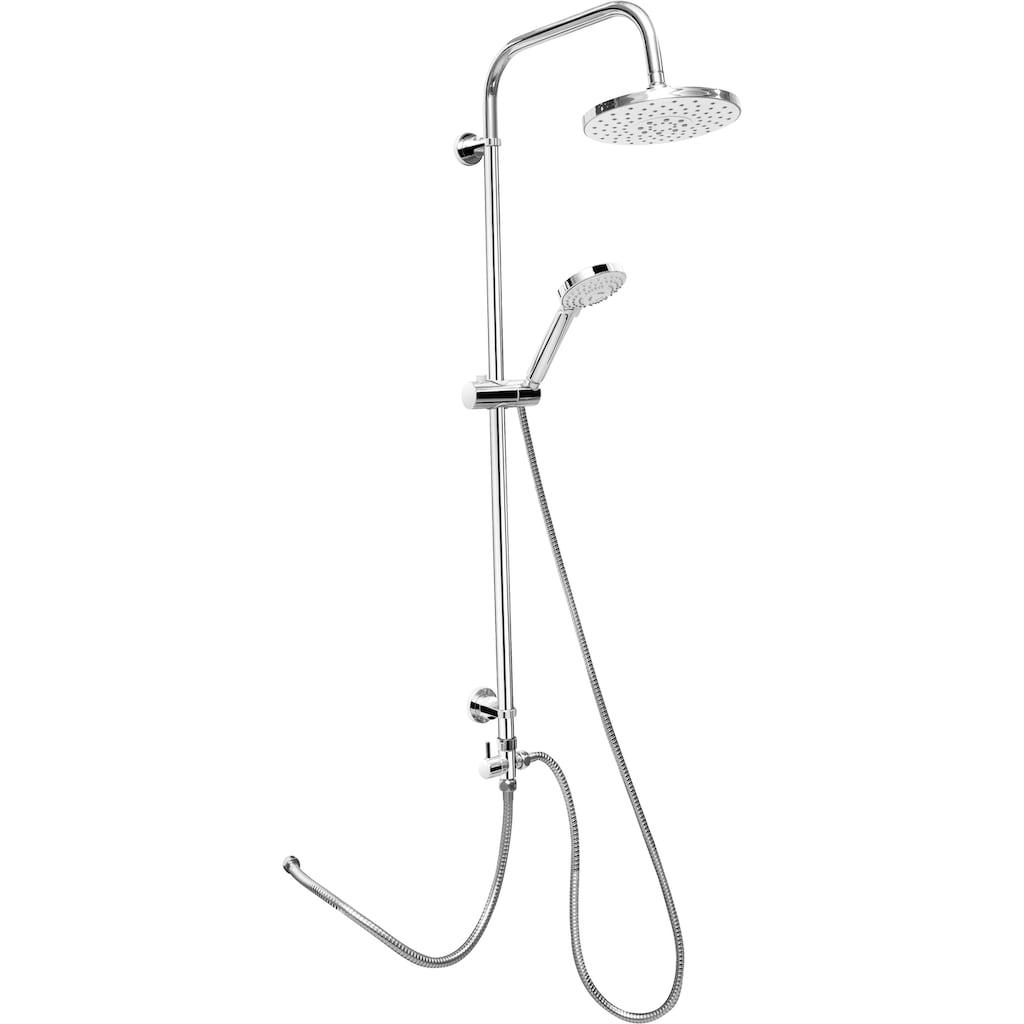 CORNAT Duschsystem »ROUND NEO Duschsystem rund chrom«, Anitkalk-Noppen