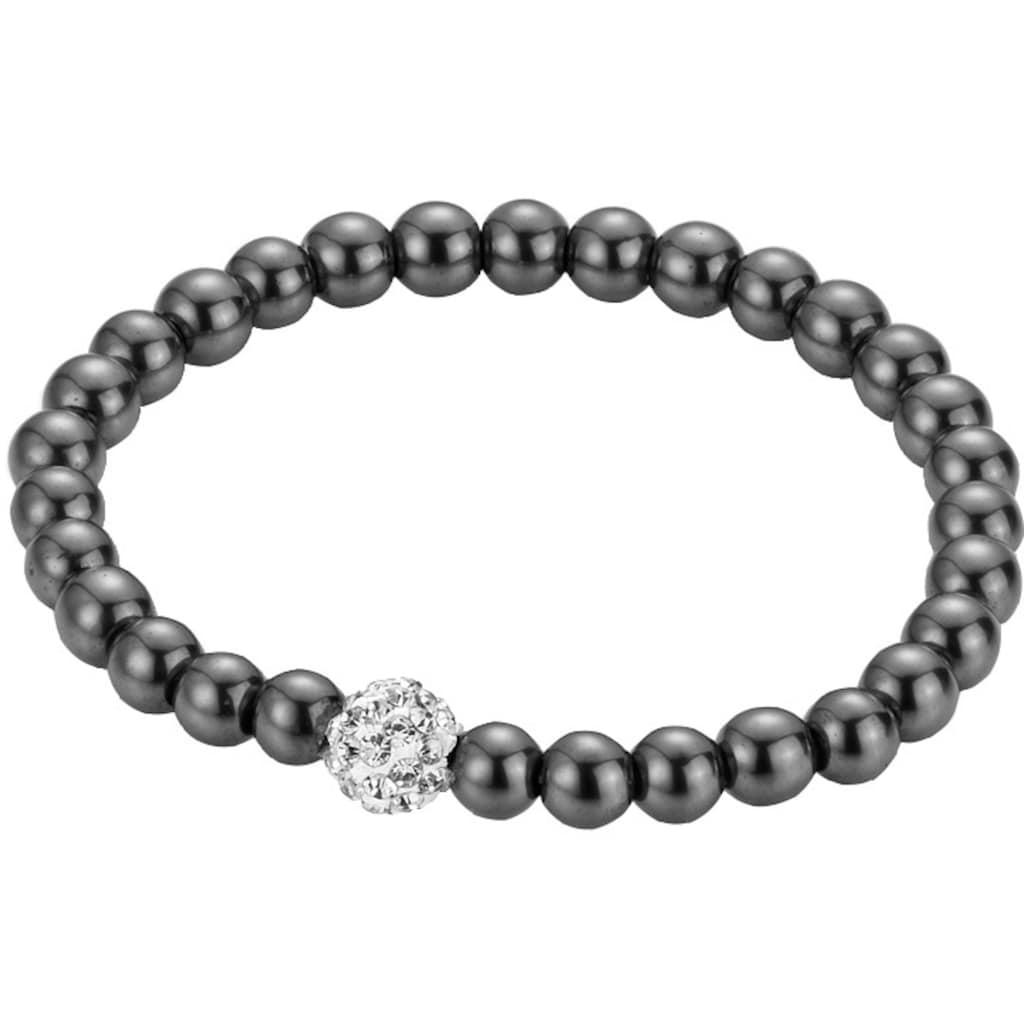 Firetti Armband, mit Hämatit und Kristallsteinen