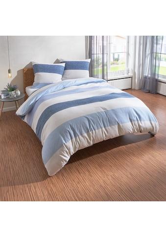 TRAUMSCHLAF Bettwäsche »Streifen Melange blau«, Biberbettwäsche weich und kuschelig kaufen