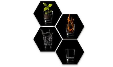 Wall-Art Mehrteilige Bilder »Silber Effekt The Four Elements«, (Set, 4 St.) kaufen