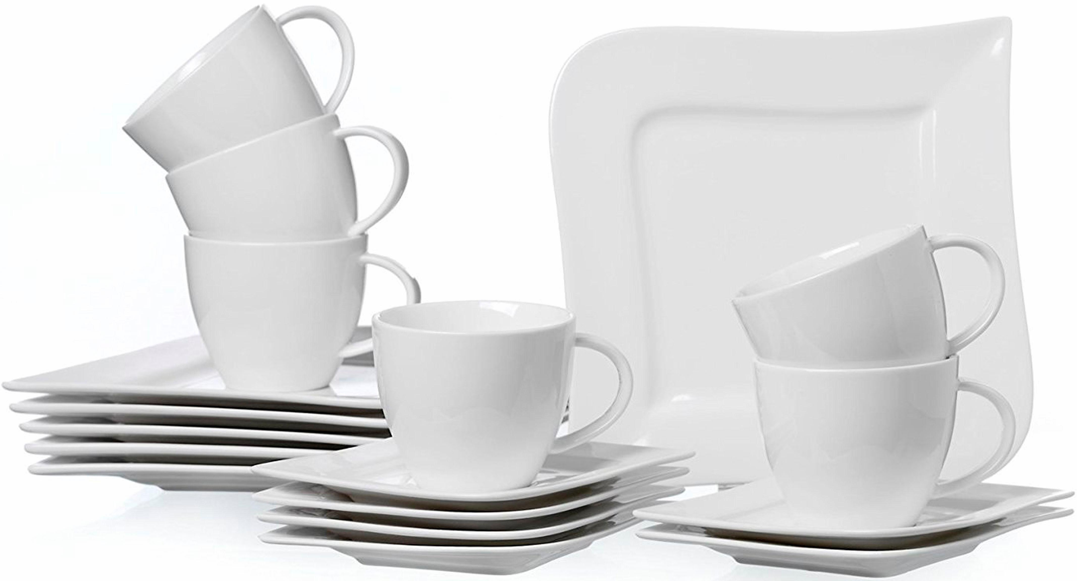 Ritzenhoff & Breker Kaffeeservice Melodie, (Set, 18 tlg.), Spülmaschinengeeignet weiß Geschirr-Sets Geschirr, Porzellan Tischaccessoires Haushaltswaren