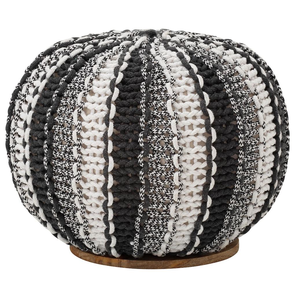 Home affaire Pouf »Zebra«, mit einem schönen Webstoffbezug, Untergestellplatte aus massiven Mangoholz