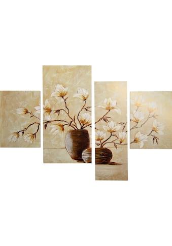 DELAVITA Bild »RUMIN / Vase mit Magnolien«, (4 St., 4-teilig) kaufen