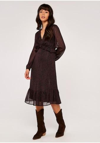Apricot Druckkleid »Folk Leaf Ruffle Waist Midi Dress«, mit Rüschen kaufen