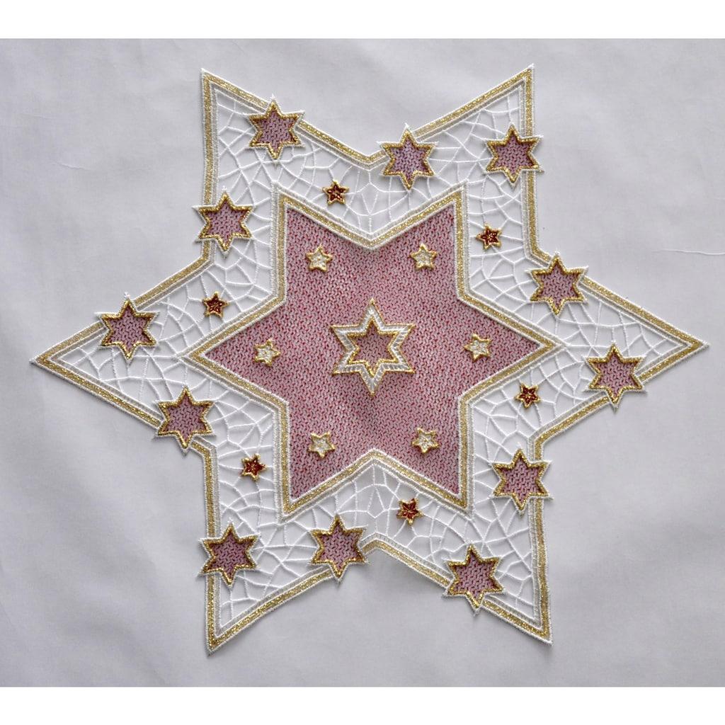 Stickereien Plauen Tischdecke »Goldtanne«, Einzelstern