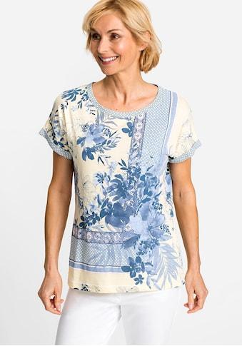 Olsen Rundhalsshirt, mit Blumenmuster und Ornament-Bordüre kaufen