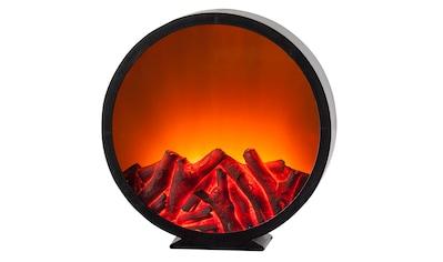 HGD Holz - Glas - Design LED - Kunststoffkamin mit Kamineffekt für Batteriebetrieb mit Time kaufen
