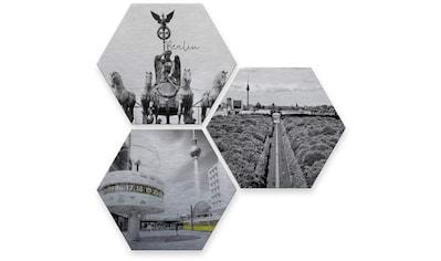 Wall-Art Mehrteilige Bilder »Silber Effekt Berlin Collage«, (Set, 3 St.) kaufen