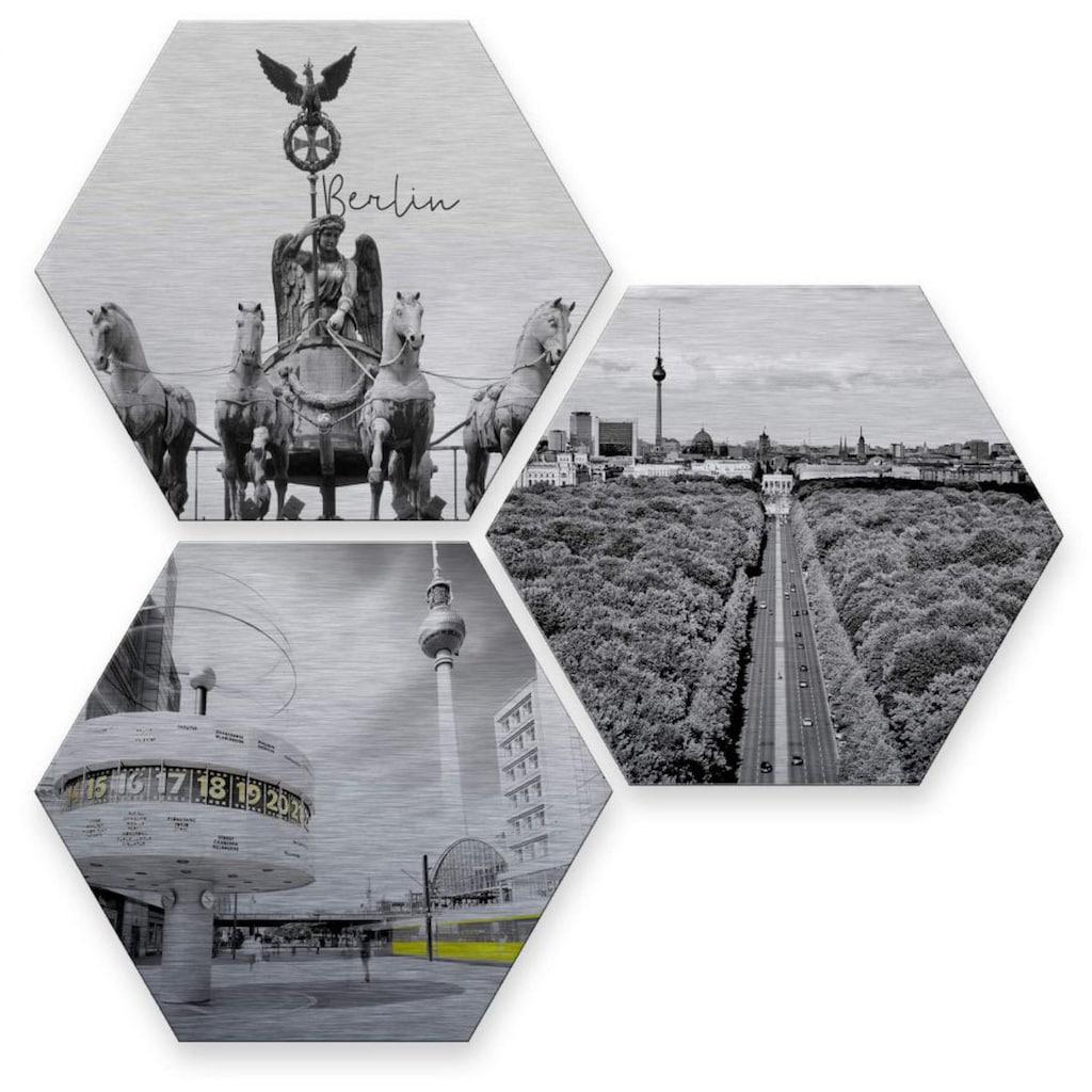 Wall-Art Mehrteilige Bilder »Silber Effekt Berlin Collage«, (Set, 3 St.)