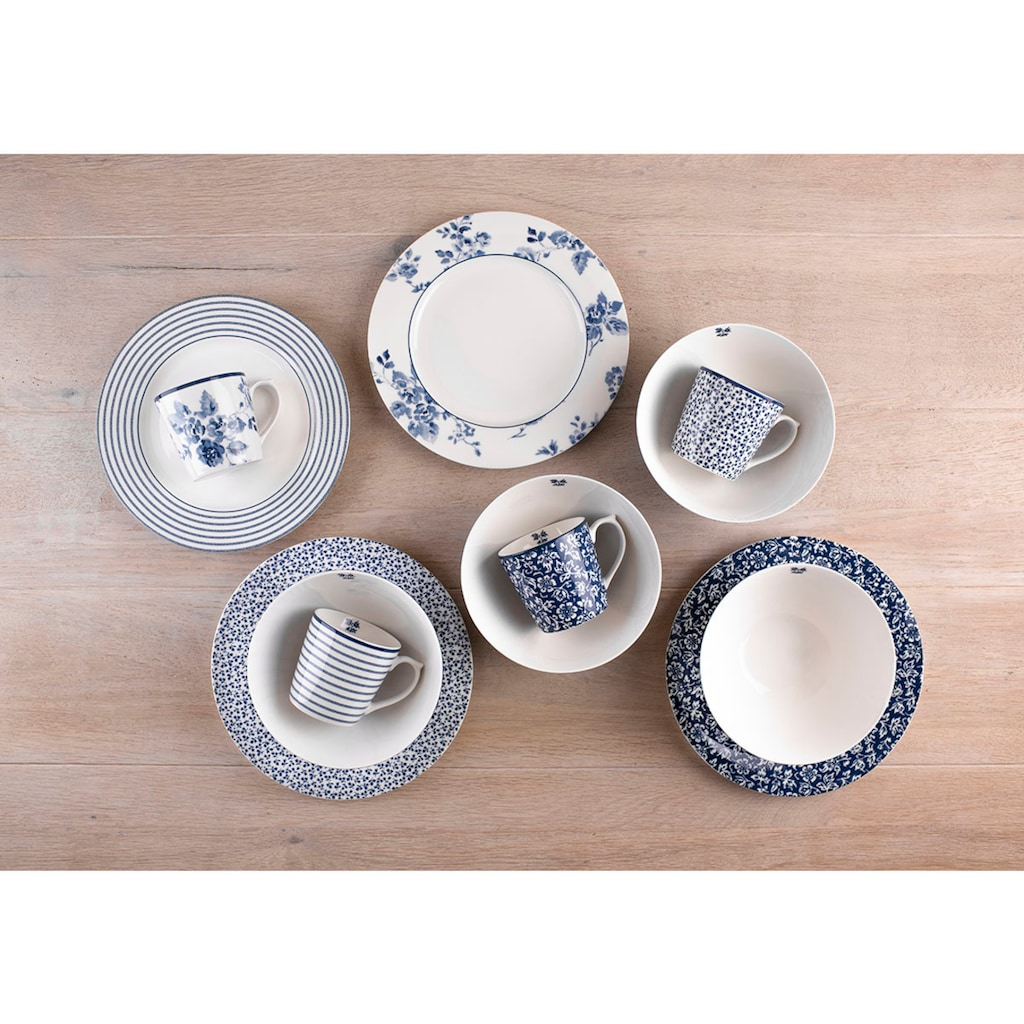 LAURA ASHLEY BLUEPRINT COLLECTABLES Frühstücks-Set »Mix Designs China Rose, Sweet Allysum, Floris und Candy Stripe.«, (Set, 12 tlg., 4 Becher, 4 Schale 16 cm, 4 Teller 23 cm)