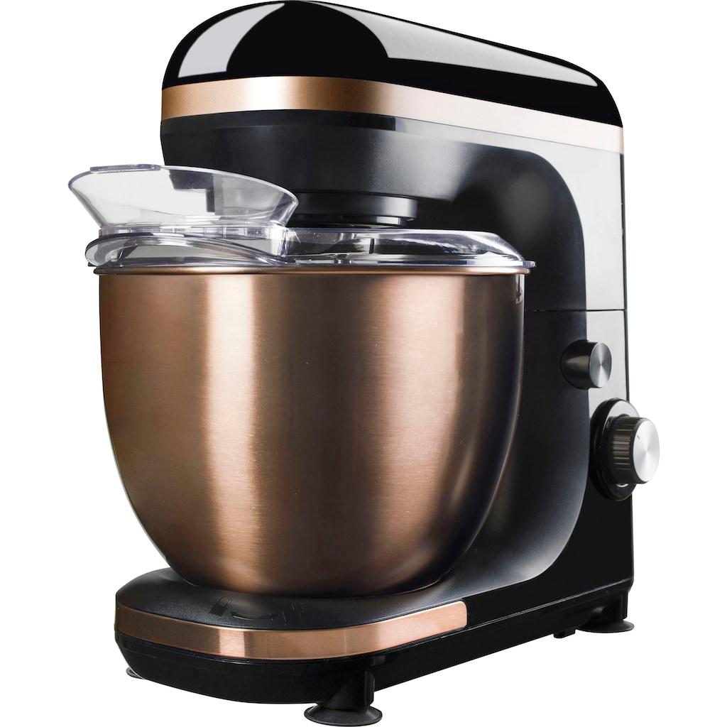 bestron Küchenmaschine »4-in-1 Küchenmaschine«, 1000 W, 5 l Schüssel, 7 Geschwindigkeitsstufen, inkl. Schneebesen, Knethaken und Rührarm, mit Spritzschutz, Farbe: Kupfer