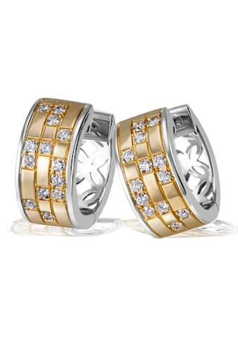 goldmaid Paar Creolen 925/- Sterlingsilber 26 weiße Zirkonia kaufen
