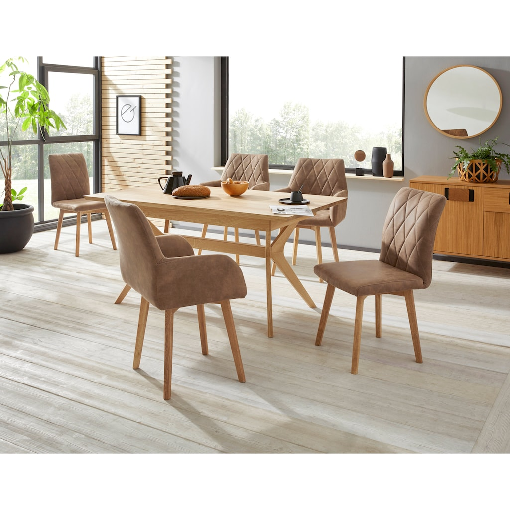 Premium collection by Home affaire Esstisch »Klara«, mit Auszugsfunktion (160 - 210 cm) aus Massivholz