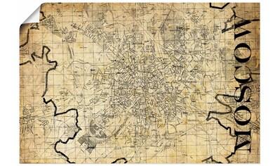 Artland Wandbild »Moskau Karte Straßen Karte Sepia« kaufen