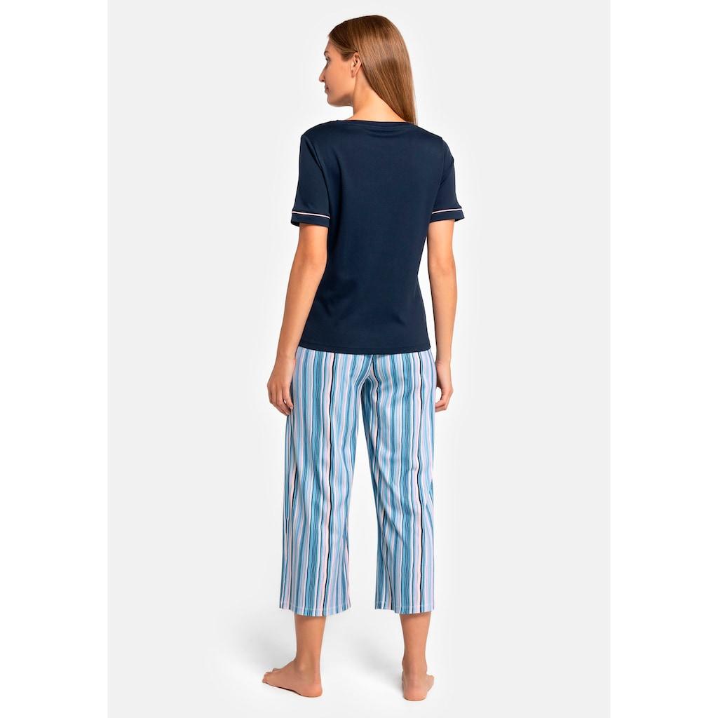 seidensticker Pyjama, mit gestreifter Caprihose