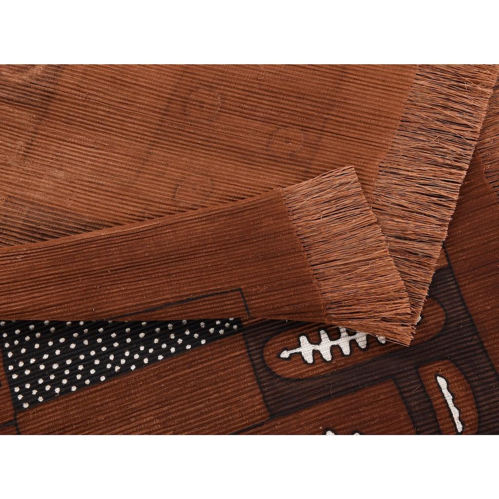 DIE HAUSKUNST Teppich »Yorodian Fileli«, rechteckig, 4 mm Höhe, Flachgewebe, handgewebt, mit Fransen, Wohnzimmer