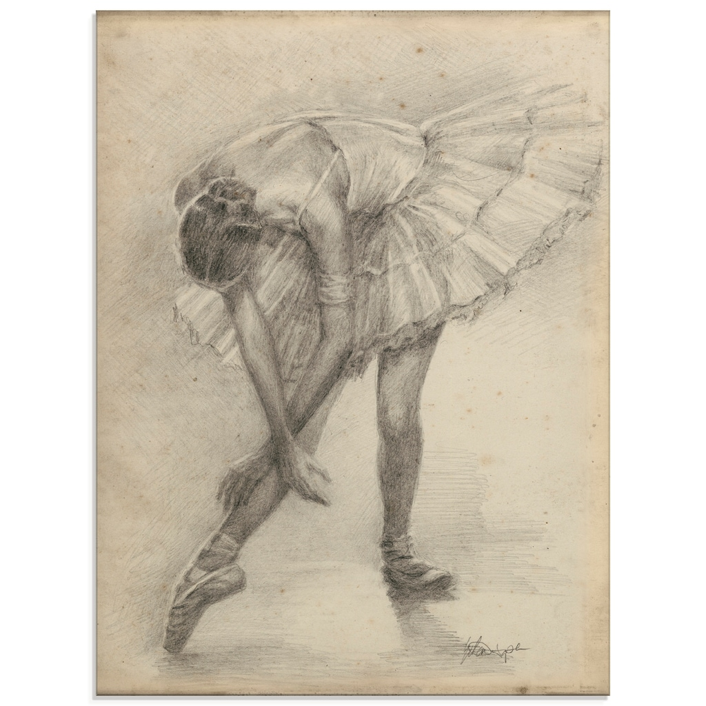 Artland Glasbild »Antike Ballerina Übung II«, Sport, (1 St.)