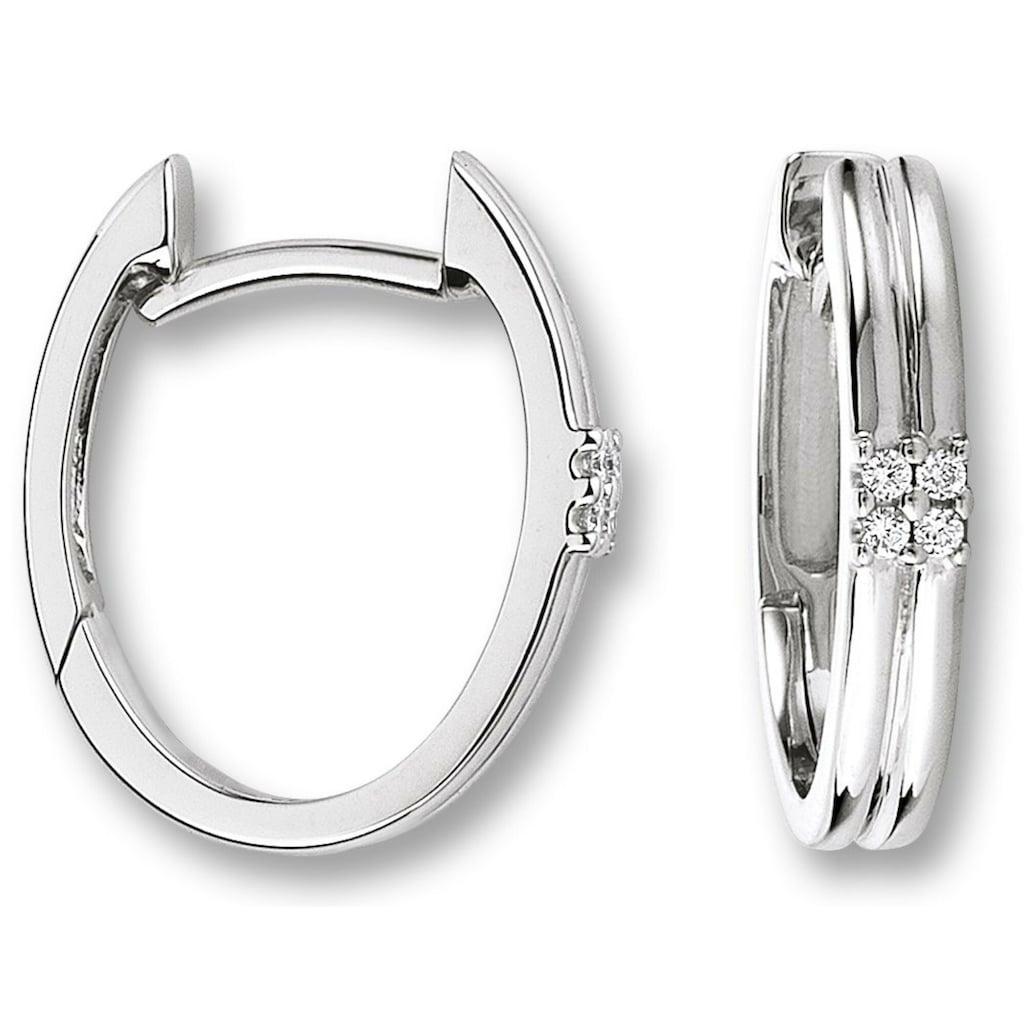ONE ELEMENT Paar Creolen »Orhringe / Creolen aus 585 Weißgold mit 0,04 ct Diamant«