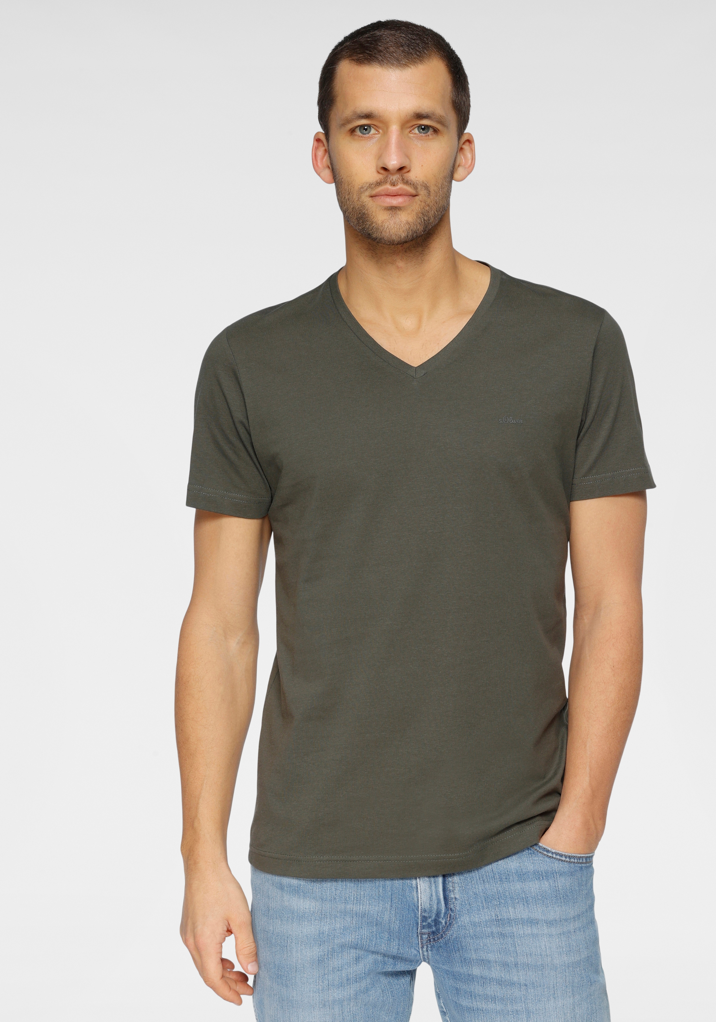 s.oliver -  T-Shirt, mit V-Ausschnitt