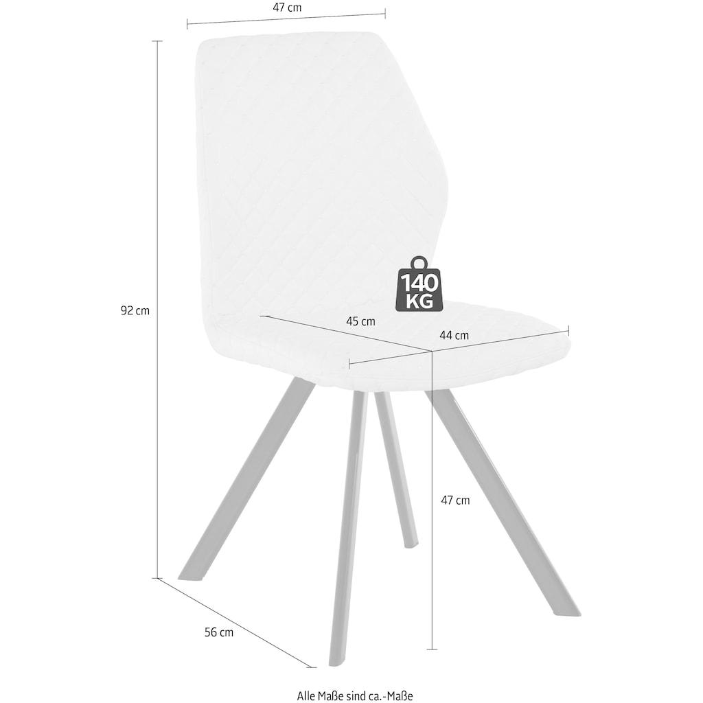 Esszimmerstuhl »Isobel«, Bezug in Kunstleder mit Diamantsteppung, schwarzes Metallgestell