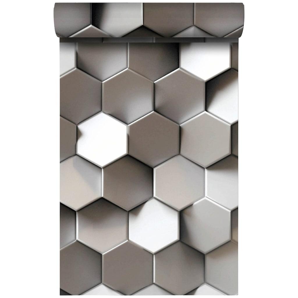 Bodenmeister Fototapete »3d Effekt Metall-Waben«
