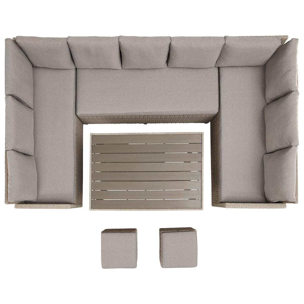 KONIFERA Loungeset »Rotterdam«, (20 tlg.), 3 Sofas, 2 Hocker, Tisch 120x82 cm, Polyrattan