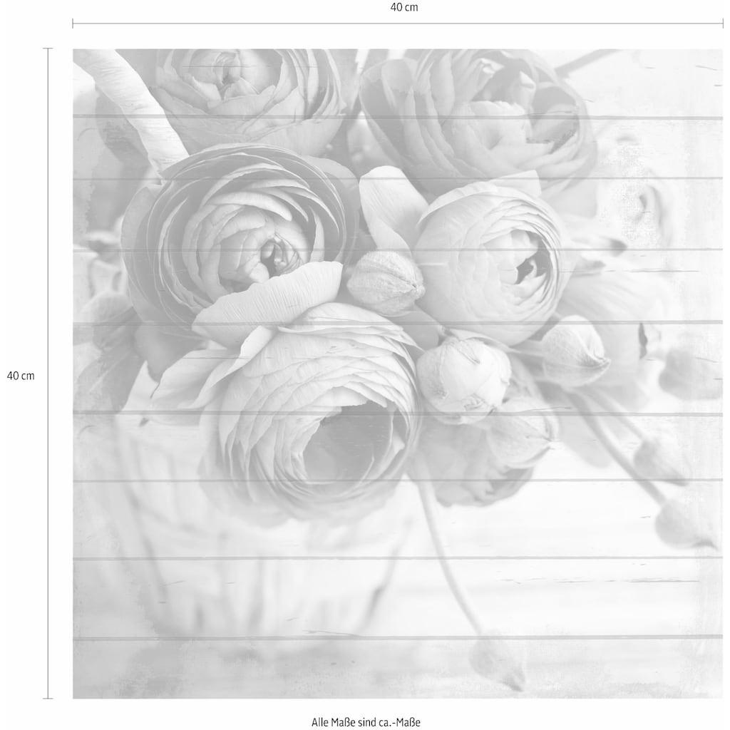 Home affaire Holzbild »Pfingstrosen in Vase«, 40/40 cm
