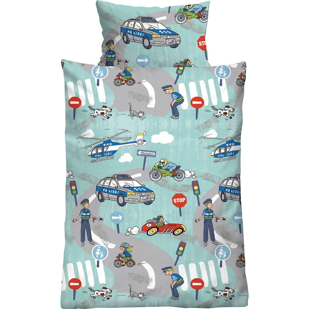 Biberna Kinderbettwäsche »Ela«, mit tollen Polizei Motiven