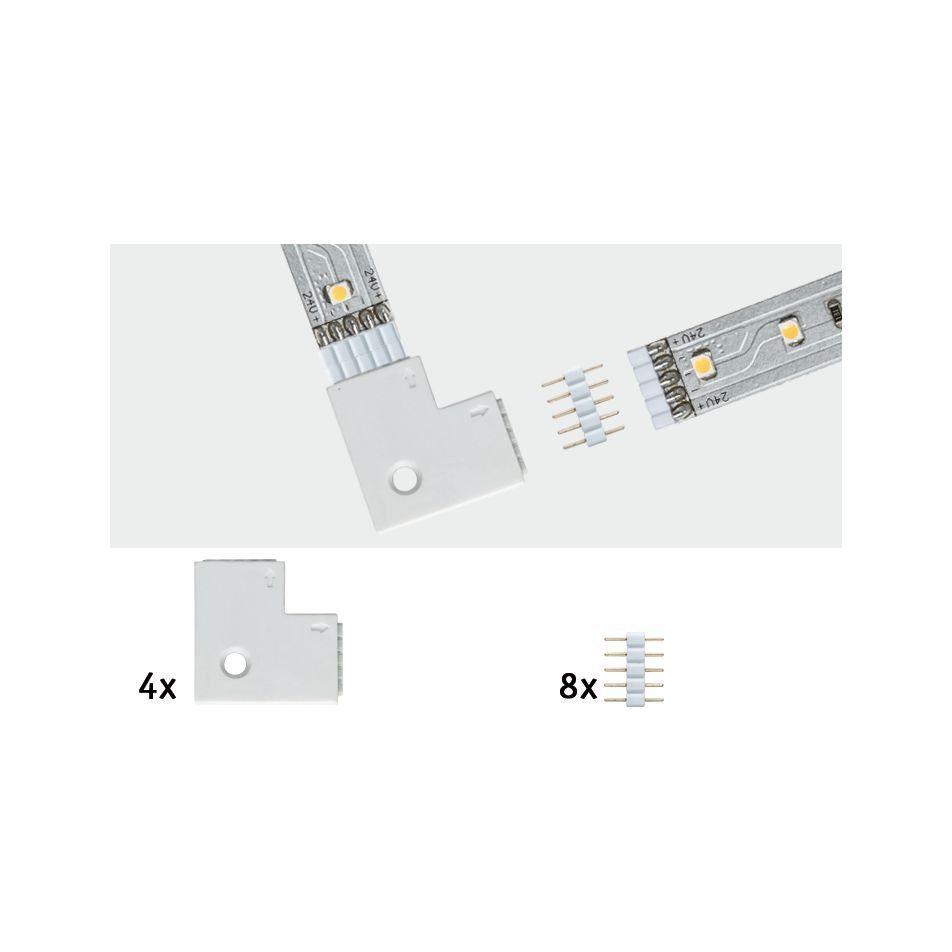 Paulmann LED-Streifen MaxLED Eckverbinder 90° Weiß 4er-Pack inkl. 8 Steckverbinder, weiß