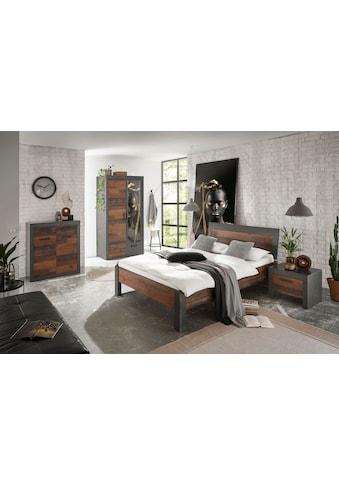 Home affaire Schlafzimmer-Set »BROOKLYN«, (Set, Einzelbett mit Holzkopfteil, Nachtkommode, Kleiderschrank 2 trg., Kommode), in dekorativer Rahmenoptik kaufen