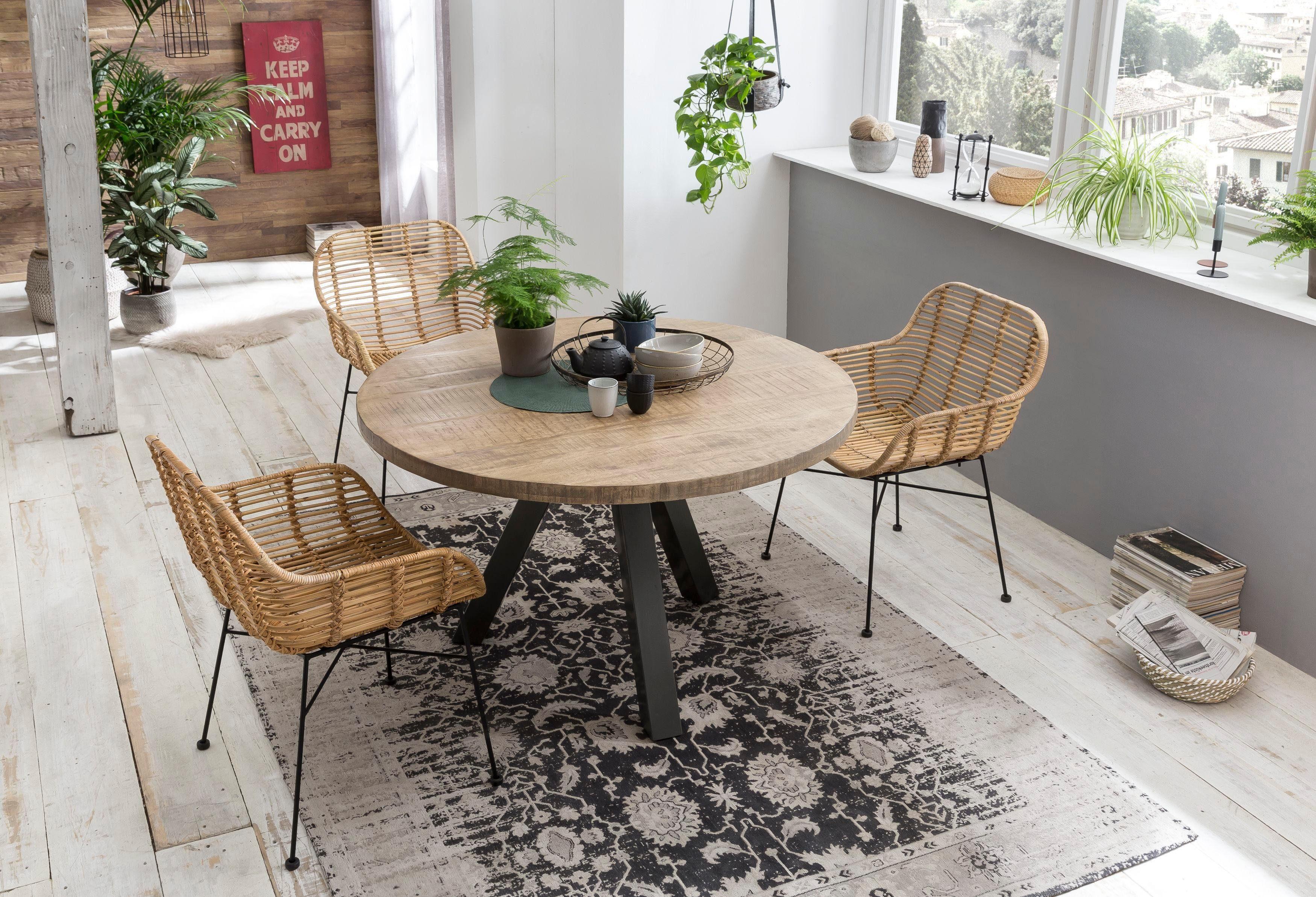 SIT Esstisch Tops&Tables, mit Massivholzplatte aus Mangoholz, runder Tisch beige Esstische quadratisch Tische