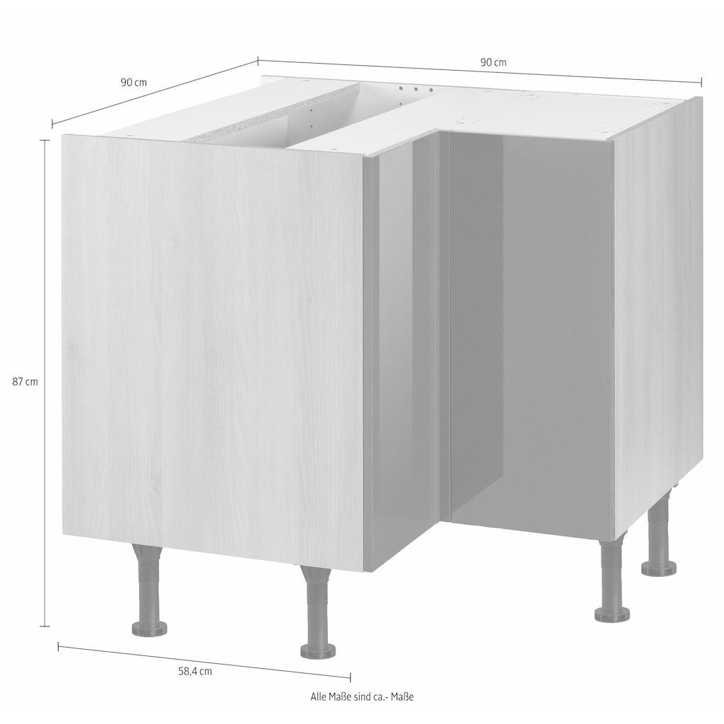 OPTIFIT Eckunterschrank »Bern«, Breite 90x90 cm, mit 1 Tür mit höhenverstellbaren Füßen, mit Metallgriff