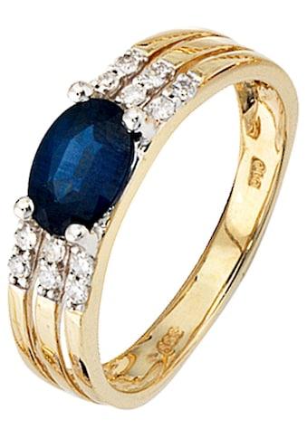 JOBO Diamantring, 585 Gold mit Safir und 12 Diamanten kaufen