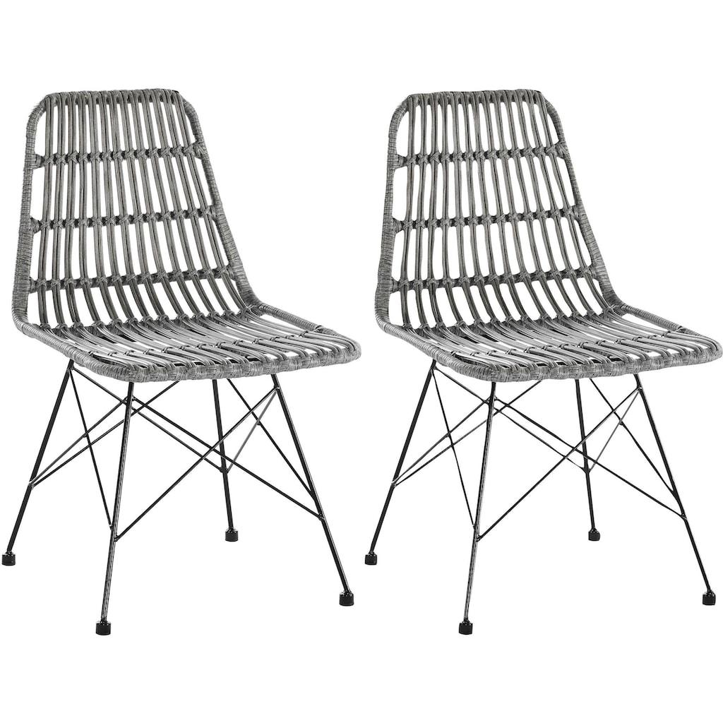 SalesFever Stuhl, Rattanstuhl aus Kunststoffgeflecht, outdoorgeeignet