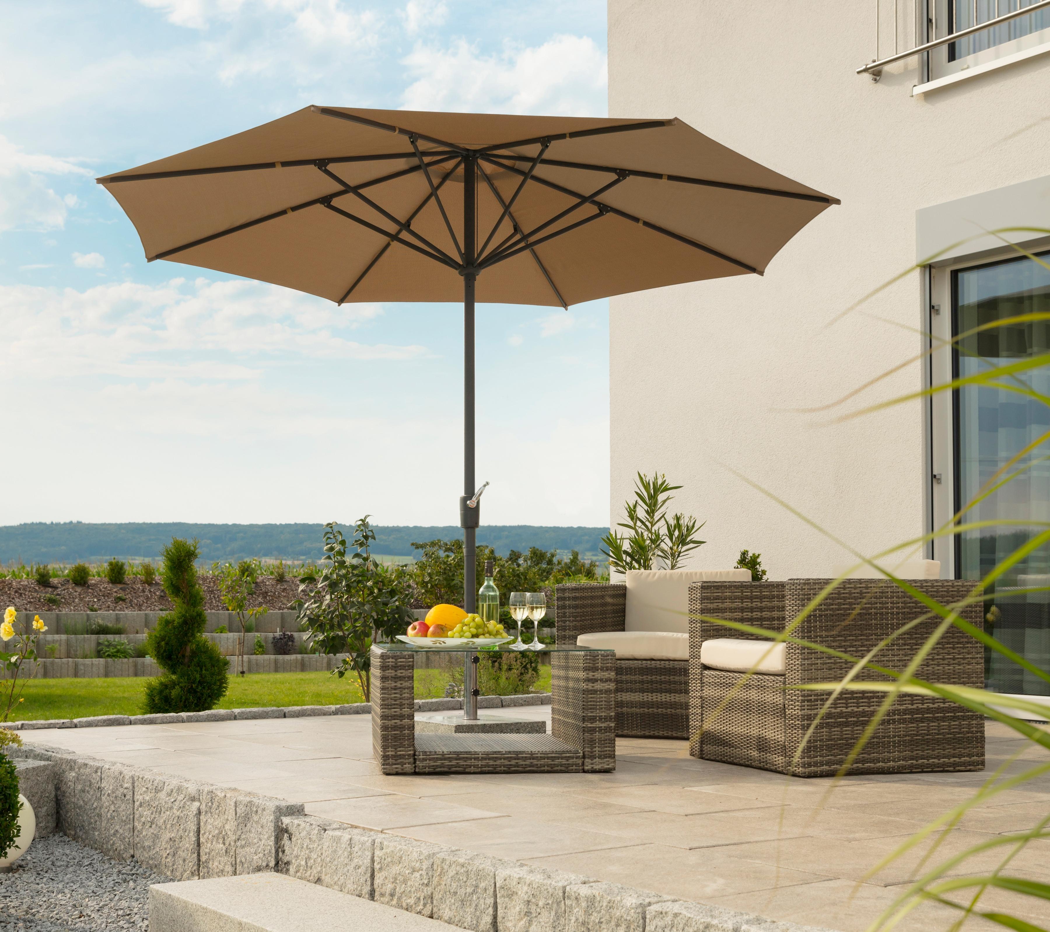 Schneider Schirme Sonnenschirm Korsika, ohne Schirmständer beige Sonnenschirme -segel Gartenmöbel Gartendeko